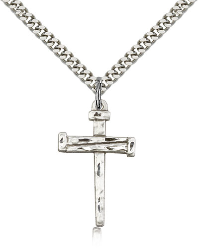Sterling Silver Cross Pendant with 18 Sterling Silver Lite Curb Chain.