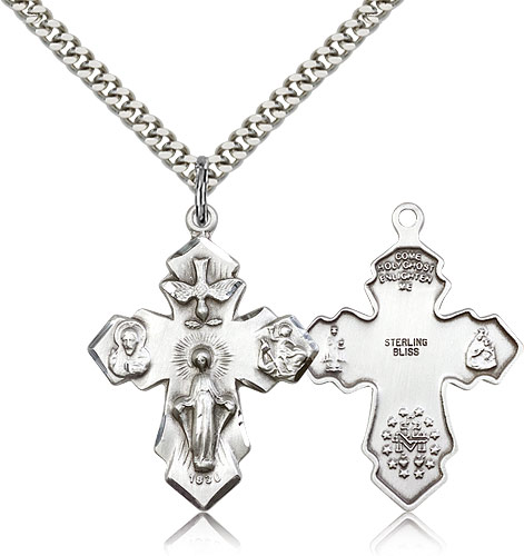 Large silver cross chain necklace for men 0048ss24s rosarycard free shipping aloadofball Image collections