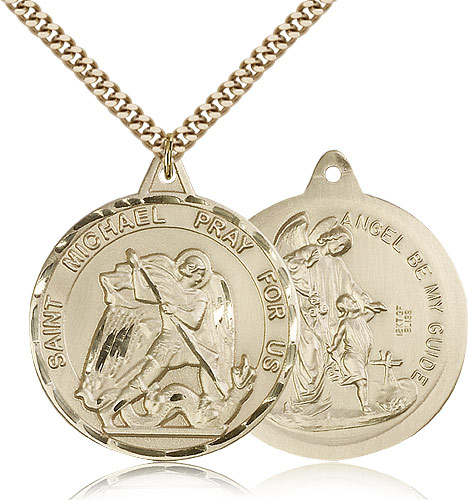 Gold st michael archangel medal necklace 0201rgf24g rosarycard free shipping mozeypictures Gallery