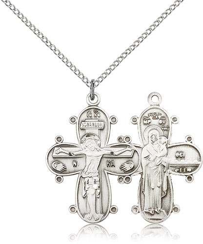 Large silver cross chain necklace for men 0264ss18ss rosarycard free shipping aloadofball Images