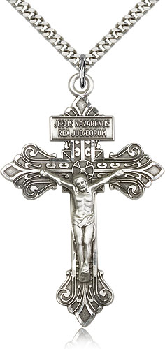 Large silver pardon crucifix necklace men 0632ss24s rosarycard free shipping aloadofball Images