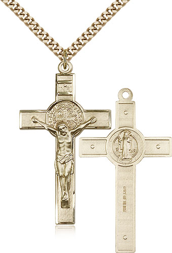 Large crucifix necklace for men gold filled 0645gf24g free shipping aloadofball Images