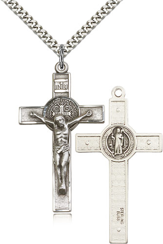 Mens sterling silver crucifix necklace 0645ss24s rosarycard aloadofball Images