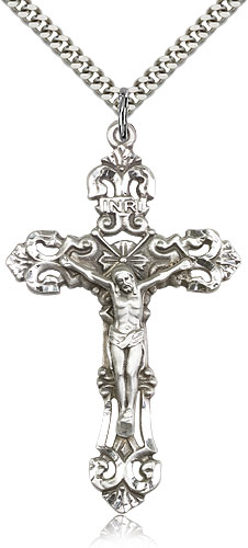 Large crucifix necklace for men sterling silver 0648ss24s sterling silver crucifix necklace for men 24 curb chain pendant 2 x 1 14 aloadofball Image collections