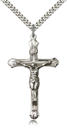 Mens crucifix necklace sterling silver 0657ss24s rosarycard sterling silver crucifix necklace for men 24 curb chain pendant 1 78 x 1 aloadofball Image collections