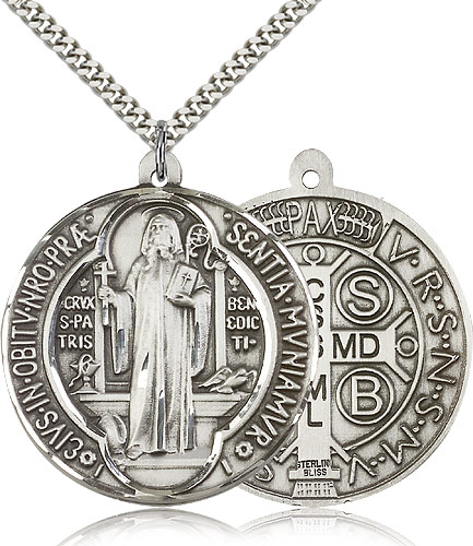 Sterling silver large silver st benedict 1057ss24s bliss free shipping aloadofball Choice Image