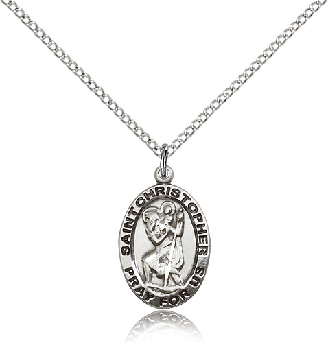 Christopher//Swimming Pendant with 18 Gold Filled Lite Curb Chain Patron Saint of Travelers//Motorists 14kt Gold Filled St
