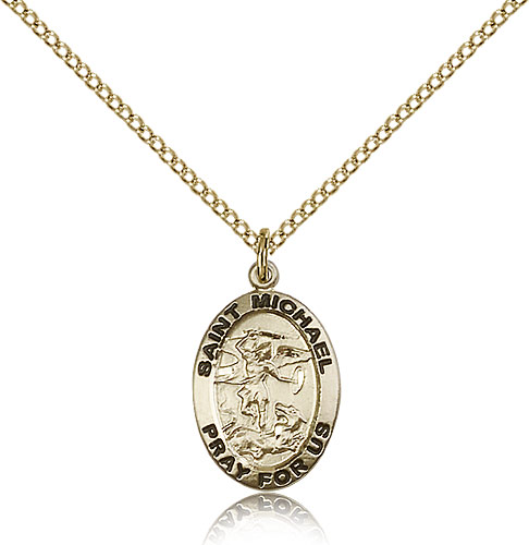 Gold st michael archangel medal necklace 3987gf18gf rosarycard 14kt gold filled st michael the archangel medal necklace for women 18 curb chain pendant 34 x 12 mozeypictures Image collections
