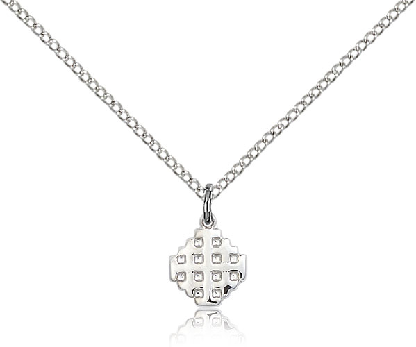 Womens cross necklace silver bliss 4118ss18ss rosarycard small sterling silver jerusalem cross necklace for women children 18 curb chain charm pendant 38 x 14 aloadofball Images