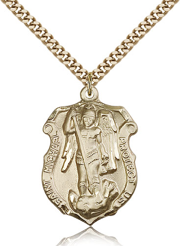Gold st michael archangel medal necklace 5448gf24g bliss gold st michael archangel medal necklace 5448gf24g bliss rosarycard aloadofball Choice Image