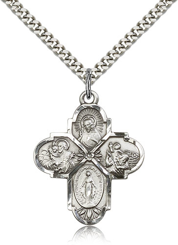 Large silver cross chain necklace for men 5450ss24s rosarycard free shipping aloadofball Image collections