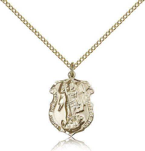 Gold st michael archangel medal necklace 5692gf18gf rosarycard 14kt gold filled st michael the archangel medal necklace for women 18 curb chain pendant 34 x 12 mozeypictures Image collections