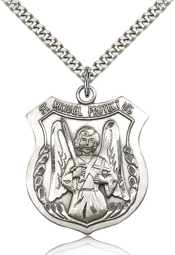 Sterling silver st michael archangel medal 5695ss24s rosarycard sterling silver st michael the archangel medal necklace for men women 24 curb chain pendant 1 38 x 1 18 aloadofball Choice Image