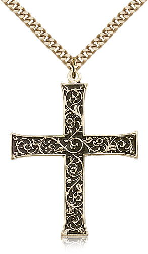 Catholic Cross Necklace For Men Gold