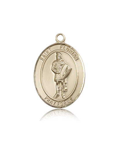 b1282ceb643 14K Yellow Gold St Florian Medal Pendant 7034KT - Rosarycard.net