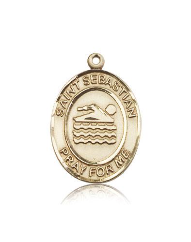 14k yellow gold st sebastian medal pendant 7167kt rosarycard free shipping aloadofball Images