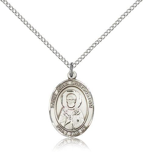 Gold Filled Lite Curb Chain Patron Saint Epilepsy//Orators 3//4 x 1//2 14kt Gold Filled St John Chrysostom Pendant