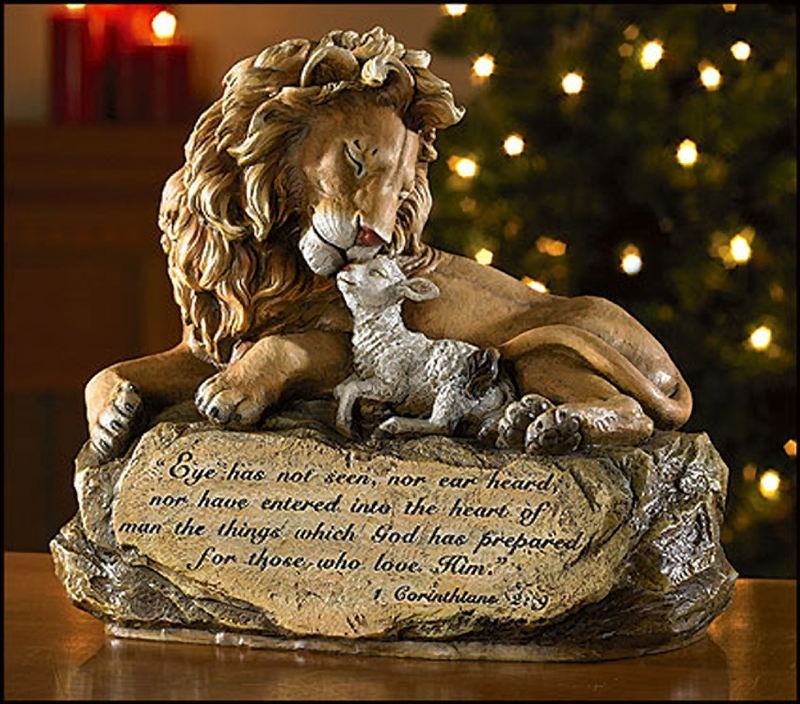 Lion and Lamb Figurine RC810 - Rosarycard.net