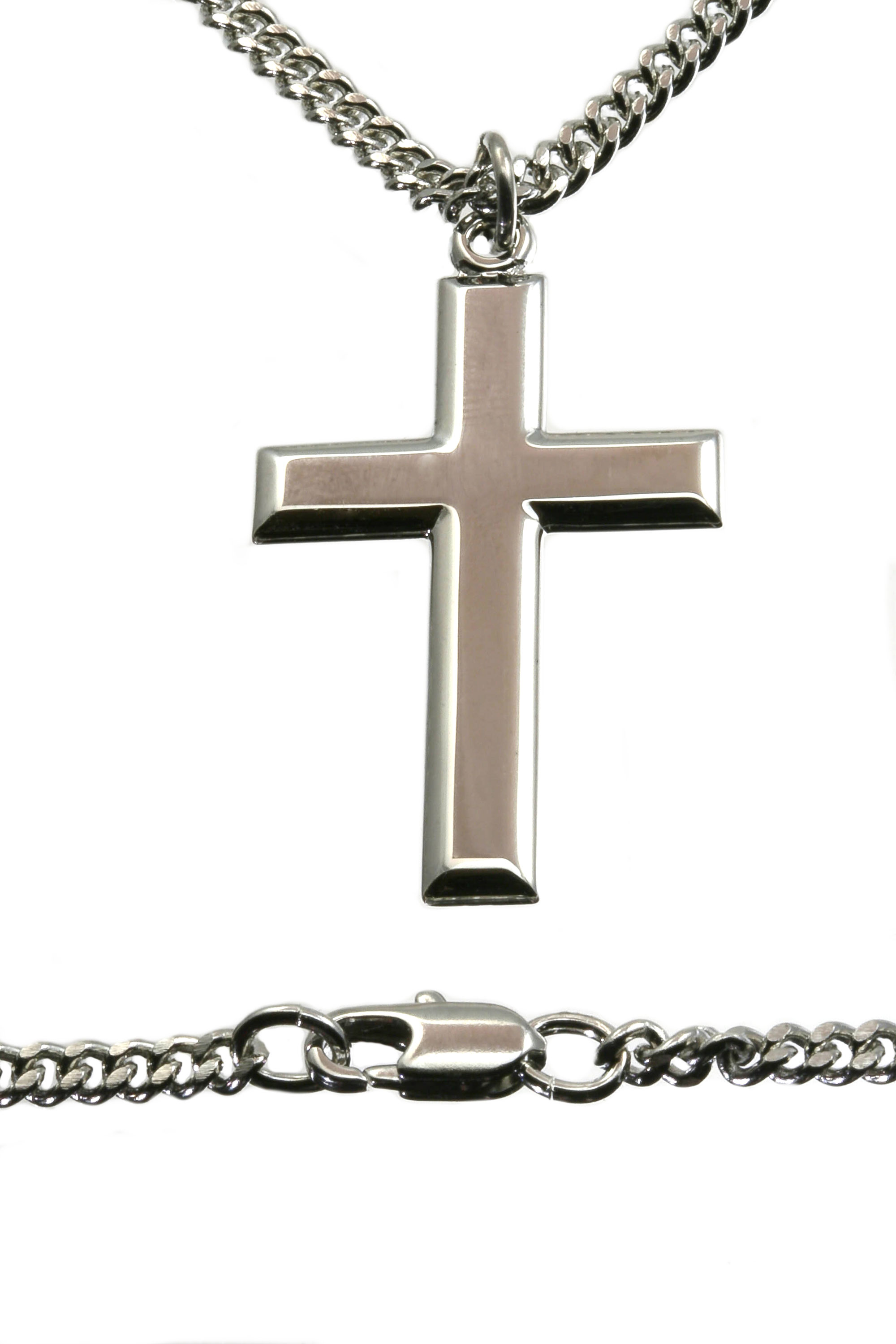 Cross Pendant Necklace For Men Silver Bliss
