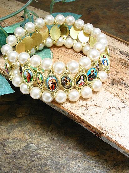 ac63ea4a91b0a 2264-0 Faux Pearl Double Row Religious Bracelet with Color Saint Images