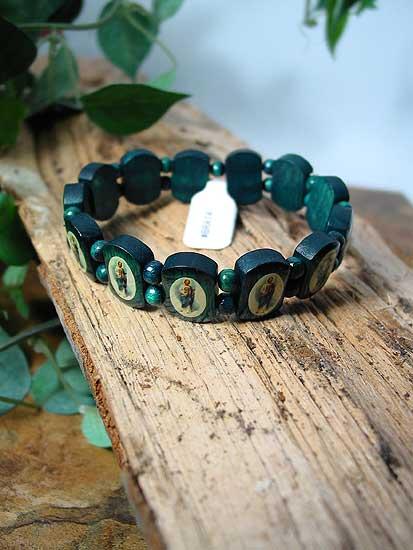 Bra14 St Jude Green Wooden Bracelet