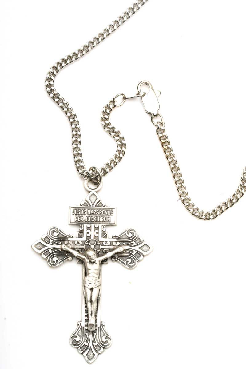 cross products stainless steel rope rosary pendant tri chain catholic crucifix necklace