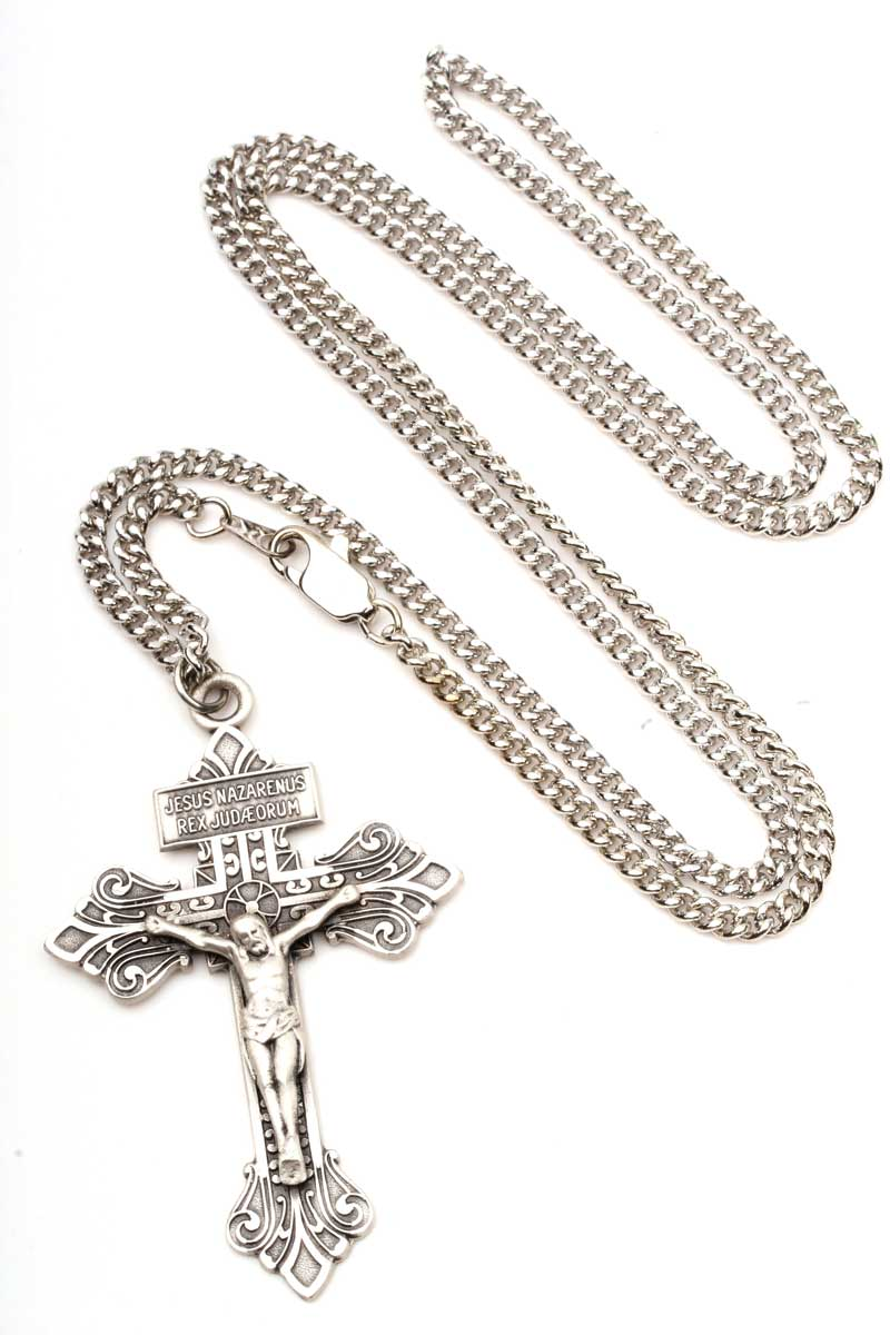 Large silver pardon crucifix necklace men 0632ss24s free shipping aloadofball Image collections