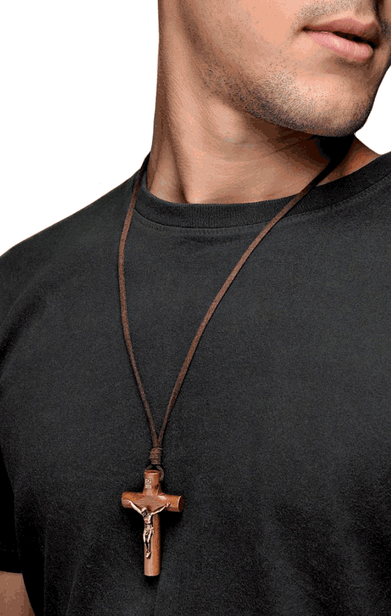 Wooden cross necklace leather cord for men rosarycard free shipping aloadofball Images