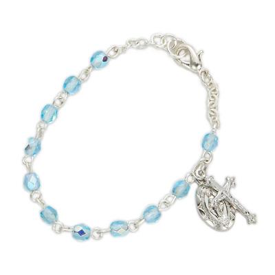 Baby Aquamarine Birthstone Rosary Bracelet With Charms