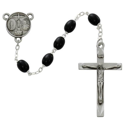 Black 6x8mm Oval Wood Bead Rosary