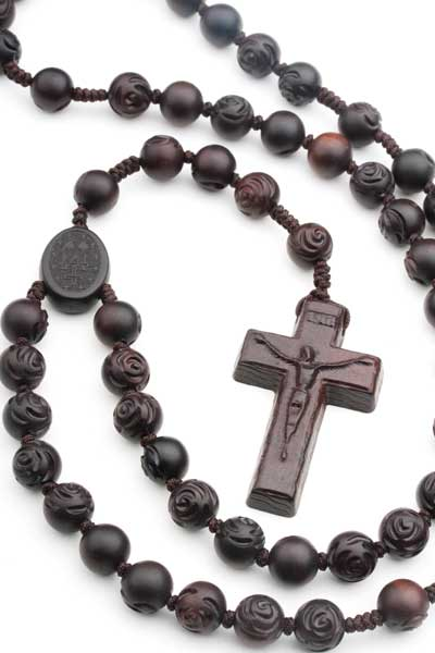 Dark Brown Jujube Wood Men's Rosary On Cord 19674
