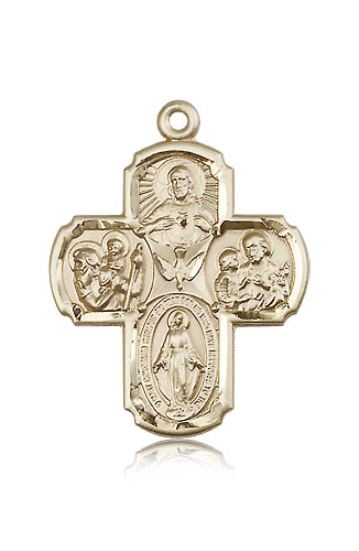 14kt Solid Yellow Gold 5-Way Cross Medal Pendant 1 3/8 x 1