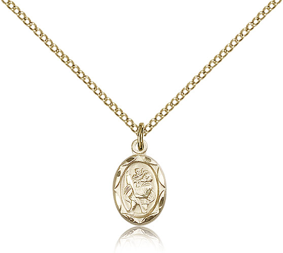 "Small 14kt Gold Filled St Christopher Medal Necklace For Women & Children & Children 18"" Curb Chain - Charm Pendant 1/2 x 1/4"