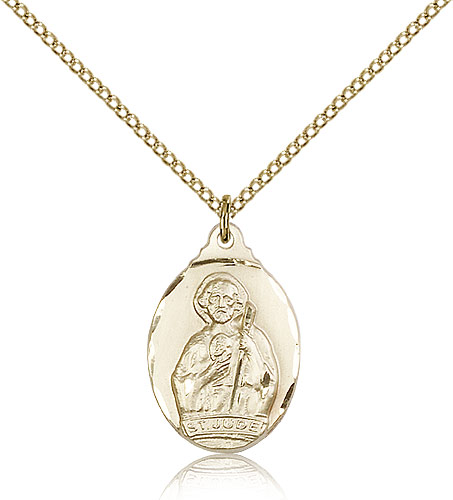 "14kt Gold Filled St Jude Medal Necklace For Women 18"" Curb Chain - Pendant 7/8 x 1/2"