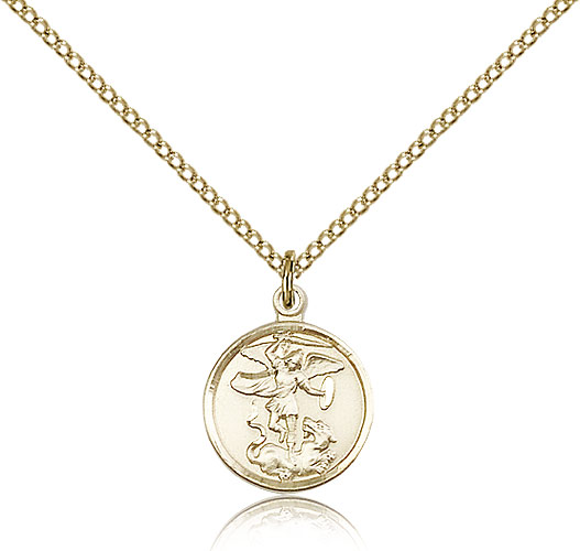 St michael medals patron saint medal rosarycard 14kt gold filled st michael the archangel medal necklace for women 18 curb chain mozeypictures Image collections