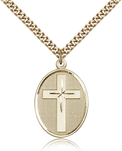 14kt Gold Filled Cross Necklace Pendant 1 1/8 x 3/4