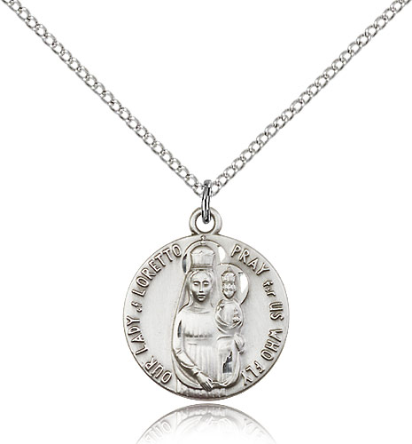 "Sterling Silver O/L of Loretto Medal Necklace For Women 18"" Curb Chain - Pendant 3/4 x 5/8"