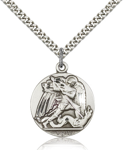 "Sterling Silver St Michael the Archangel Medal Necklace For Men & Women 24"" Curb Chain - Pendant 1 x 7/8"