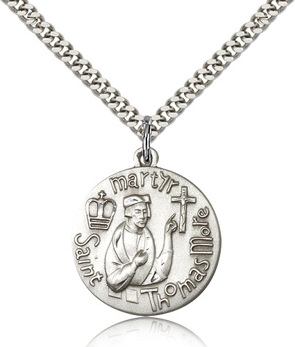 """Sterling Silver St Thomas More Medal Necklace For Men & Women 24"""" Curb Chain - Pendant 1 x 7/8"""