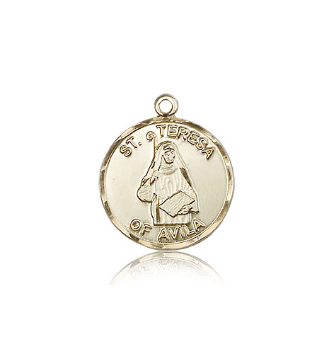 14kt Solid Yellow Gold St Theresa Medal Pendant 3/4 x 5/8