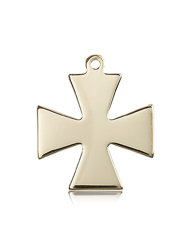 14kt Solid Yellow Gold Surfer Cross Medal Pendant 1 1/8 x 1
