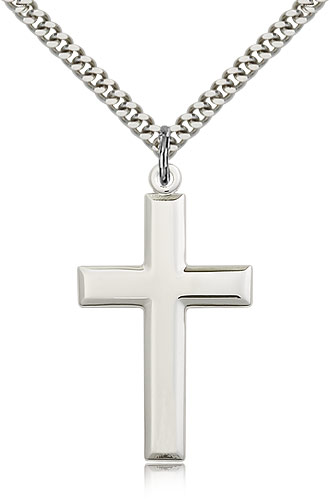 "Sterling Silver Cross Necklace For Men 24"" Curb Chain - Pendant 1 3/8 x 3/4"