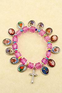 Pink Catholic Saints Bracelet 3710-10-01