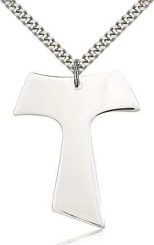"Sterling Silver Tau Cross Necklace For Men 24"" Curb Chain - Pendant 1 1/2 x 1 1/4"