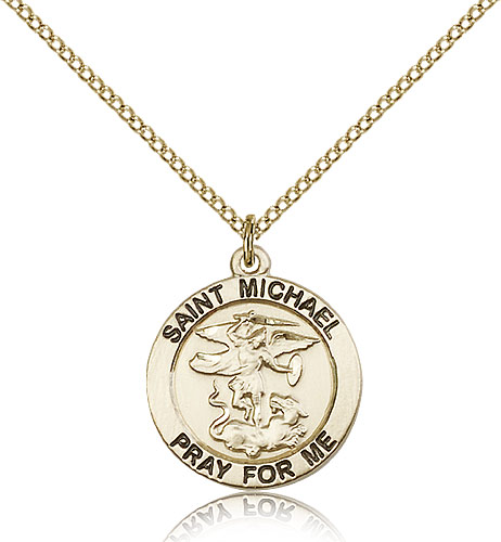 St michael medals patron saint medal rosarycard 14kt gold filled st michael the archangel medal necklace for women 18 curb chain mozeypictures Choice Image