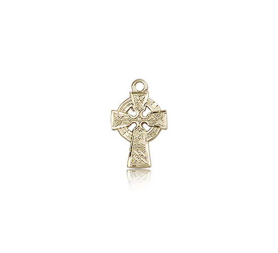 14kt Solid Yellow Gold Celtic Cross Medal Pendant 1/2 x 3/8