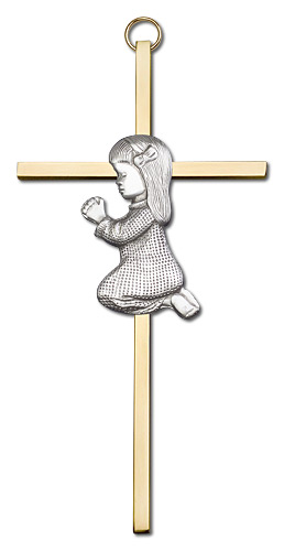 Praying Girl Wall Cross 4690SG