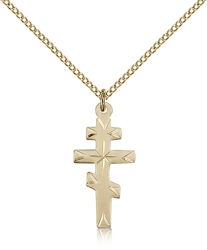 """14kt Gold Filled Greek Orthadox Cross Necklace For Women 18"""" Curb Chain - Pendant 1 x 1/2"""