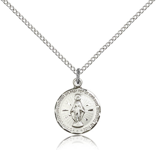"""Sterling Silver Miraculous Medal Necklace For Women 18"""" Curb Chain - Pendant 5/8 x 1/2"""