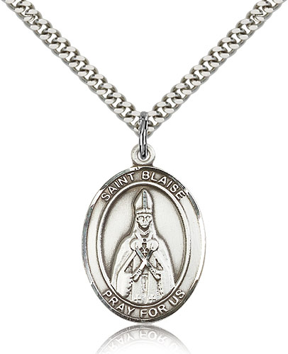"""Sterling Silver St Blaise Medal Necklace For Men & Women 24"""" Curb Chain - Pendant 1 x 3/4"""